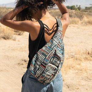 Kavu Brown tribal Print Rope Sling Back Pack